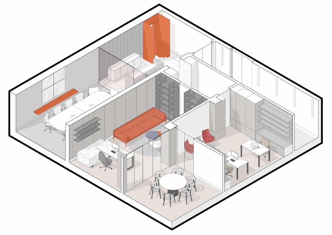 Dự án FG OFF – Một văn phòng không gian hình học màu cam -35