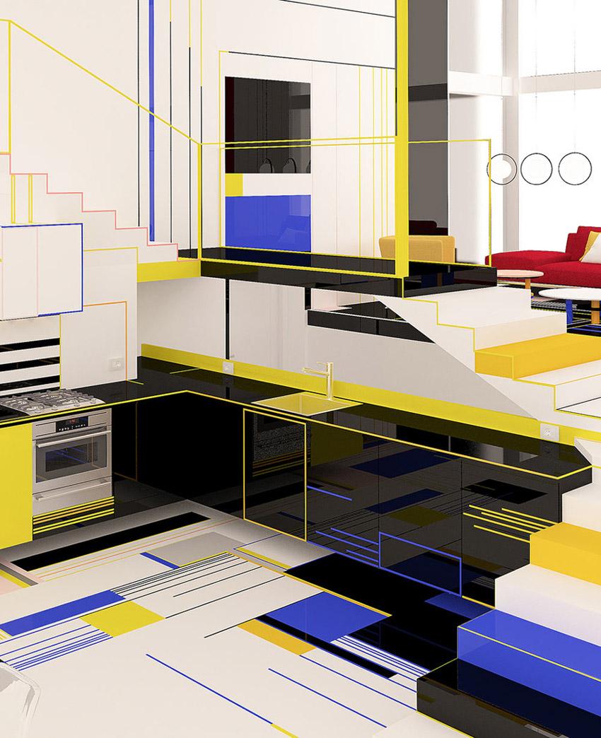 Chiêm ngưỡng căn hộ màu sắc cảm hứng từ tác phẩm của họa sĩ Piet Mondrian-10