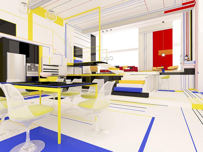 Chiêm ngưỡng căn hộ màu sắc cảm hứng từ tác phẩm của họa sĩ Piet Mondrian-2
