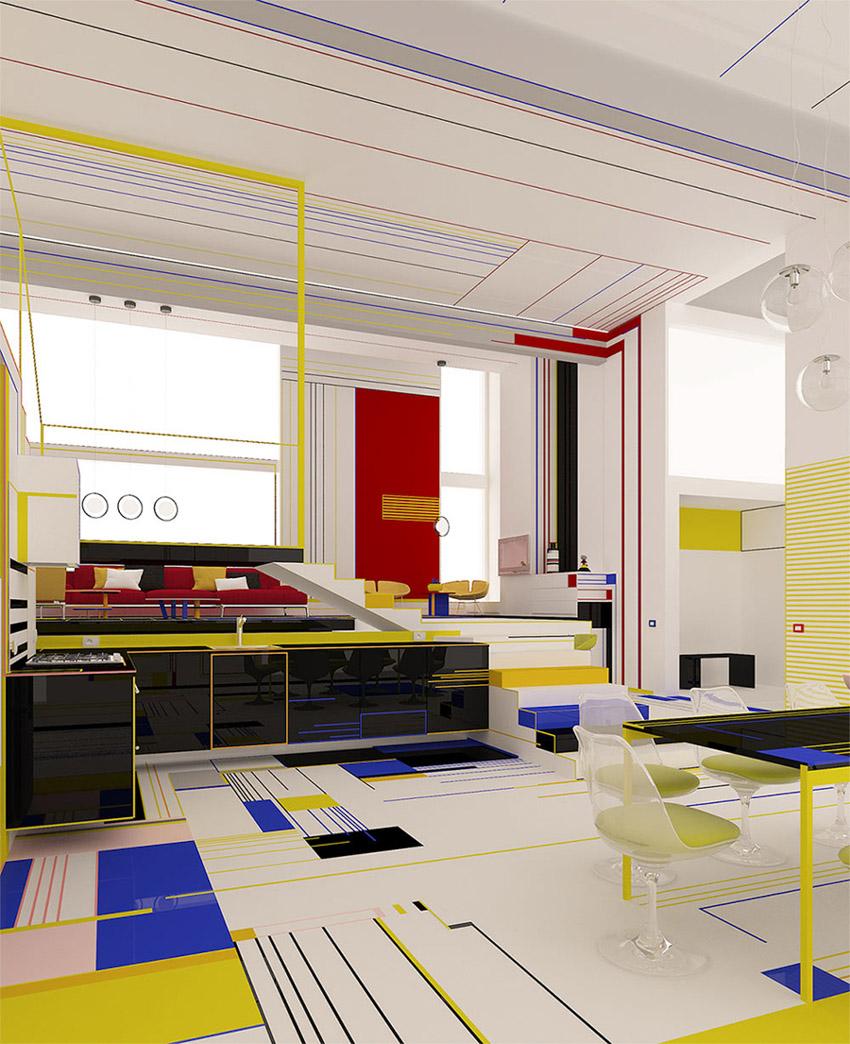 Chiêm ngưỡng căn hộ màu sắc cảm hứng từ tác phẩm của họa sĩ Piet Mondrian-5
