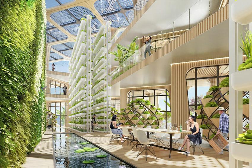 Tháp khu dân cư theo ý tưởng 'Cây cầu vồng' cây xanh tươi tốt-10