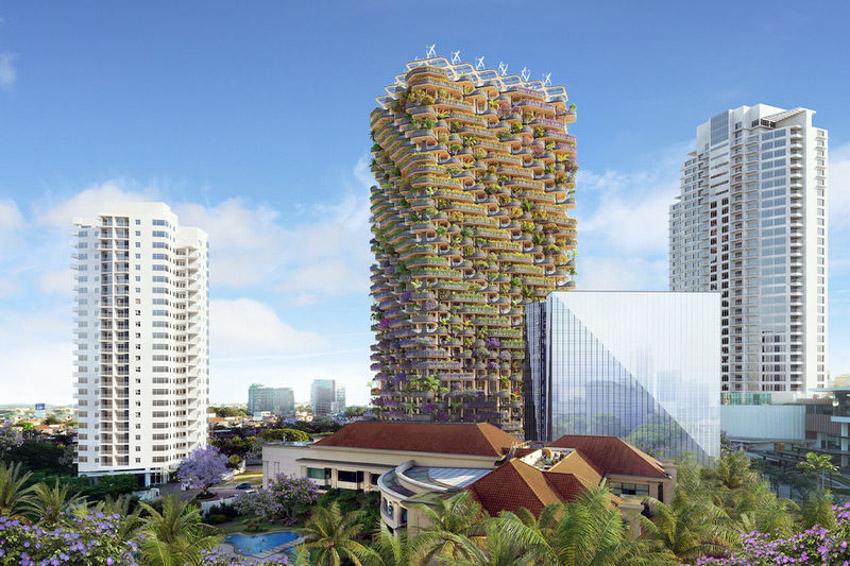 Tháp khu dân cư theo ý tưởng 'Cây cầu vồng' cây xanh tươi tốt - 3