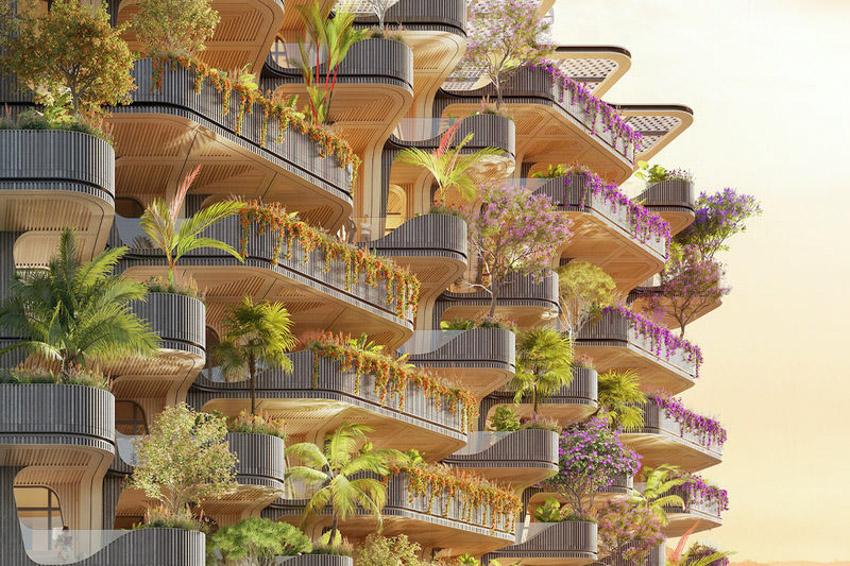 Tháp khu dân cư theo ý tưởng 'Cây cầu vồng' cây xanh tươi tốt - 4
