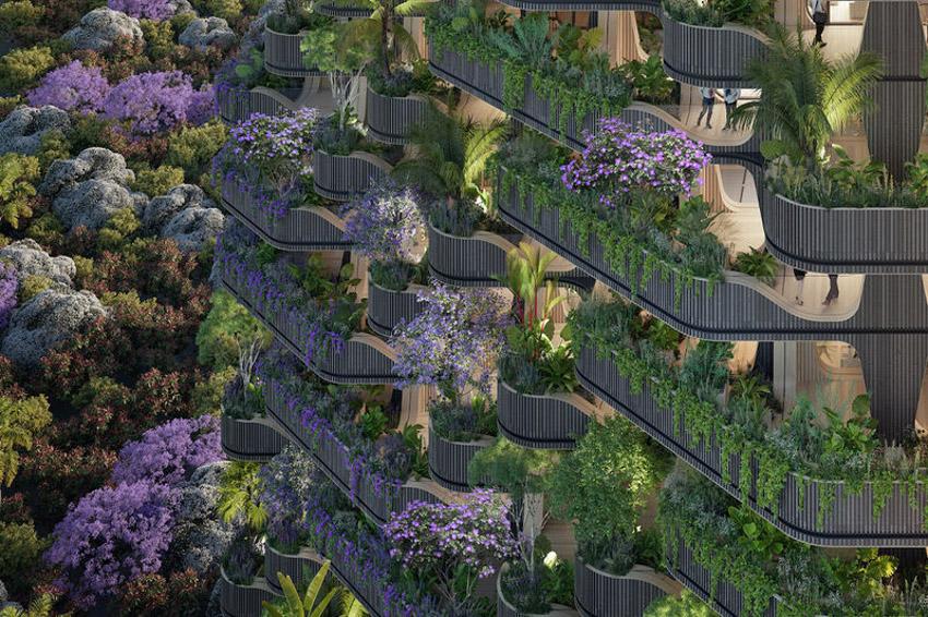 Tháp khu dân cư theo ý tưởng 'Cây cầu vồng' cây xanh tươi tốt-6
