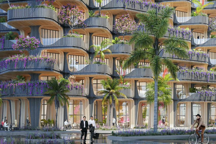 Tháp khu dân cư theo ý tưởng 'Cây cầu vồng' cây xanh tươi tốt-7