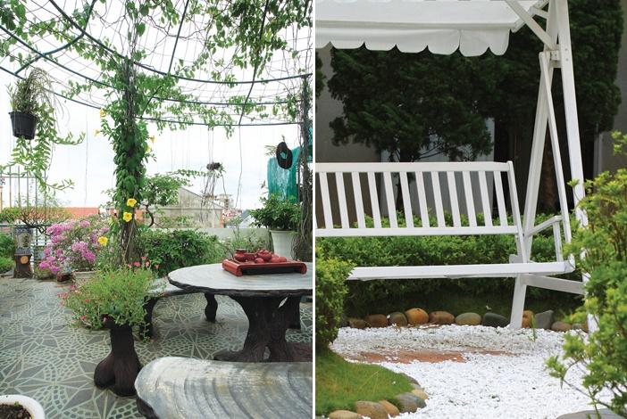 Có thể kết hợp cây cối với bố trí chỗ ngồi thư giãn trên sân thượng