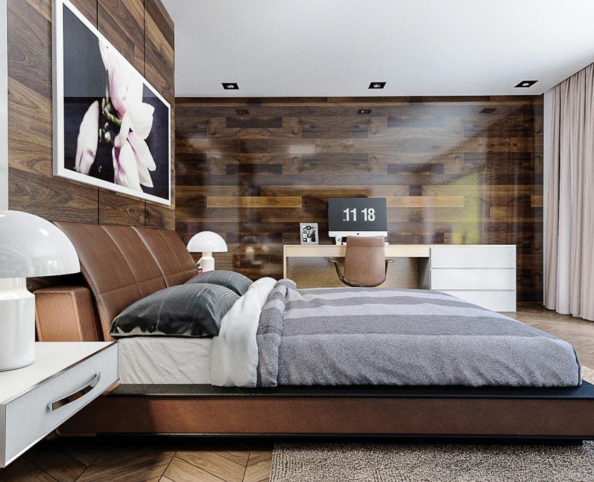Mang hơi ấm gỗ vào thiết kế vách tường đầu giường
