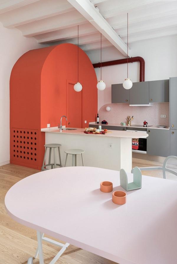 5 mẫu thiết kế nội thất sử dụng màu cam san hô - 11