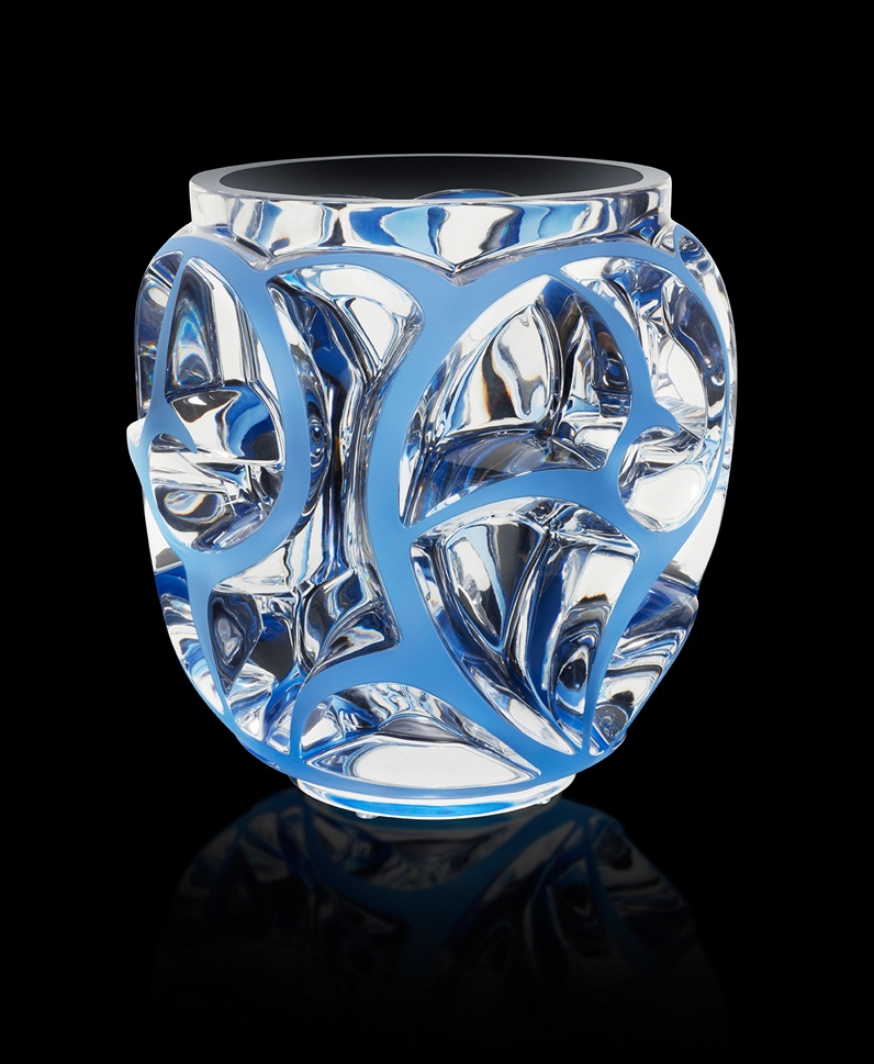 Vase Tourbillons XXL patiné bleu zoom fond noir V1