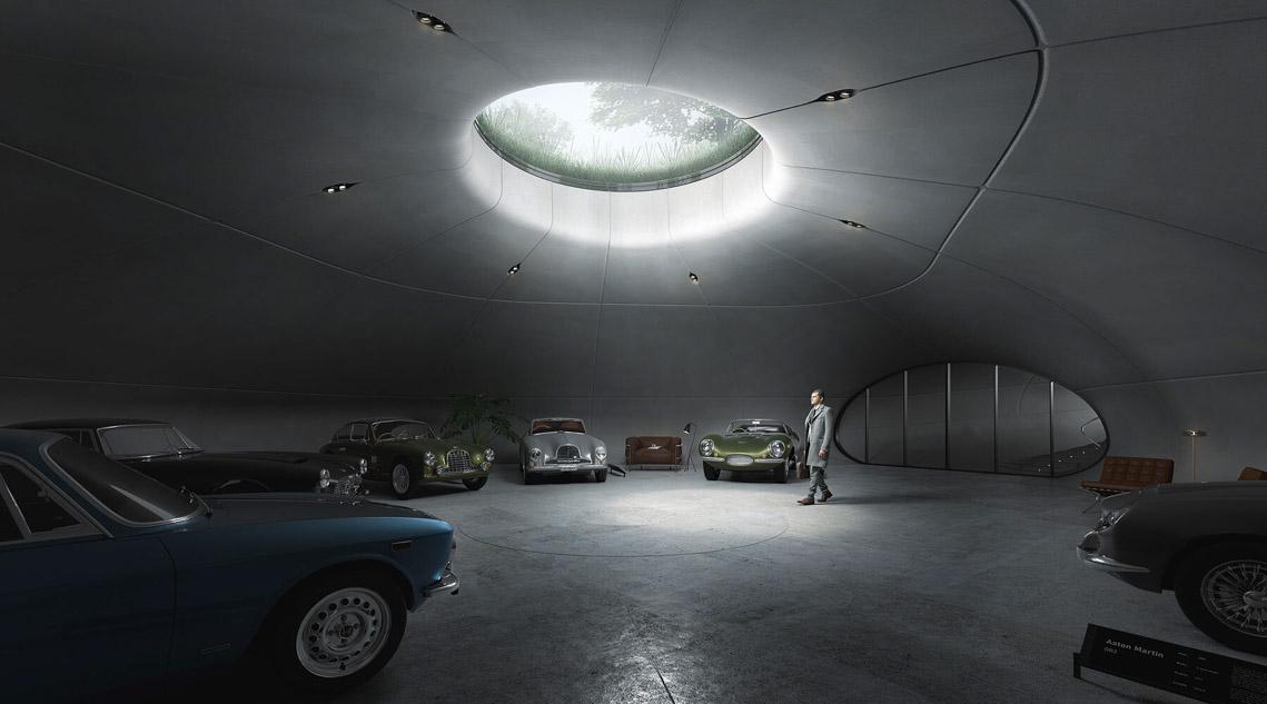Phòng trưng bày những chiếc Aston Martins cổ dưới lòng đất lấy cảm hứng từ James bond