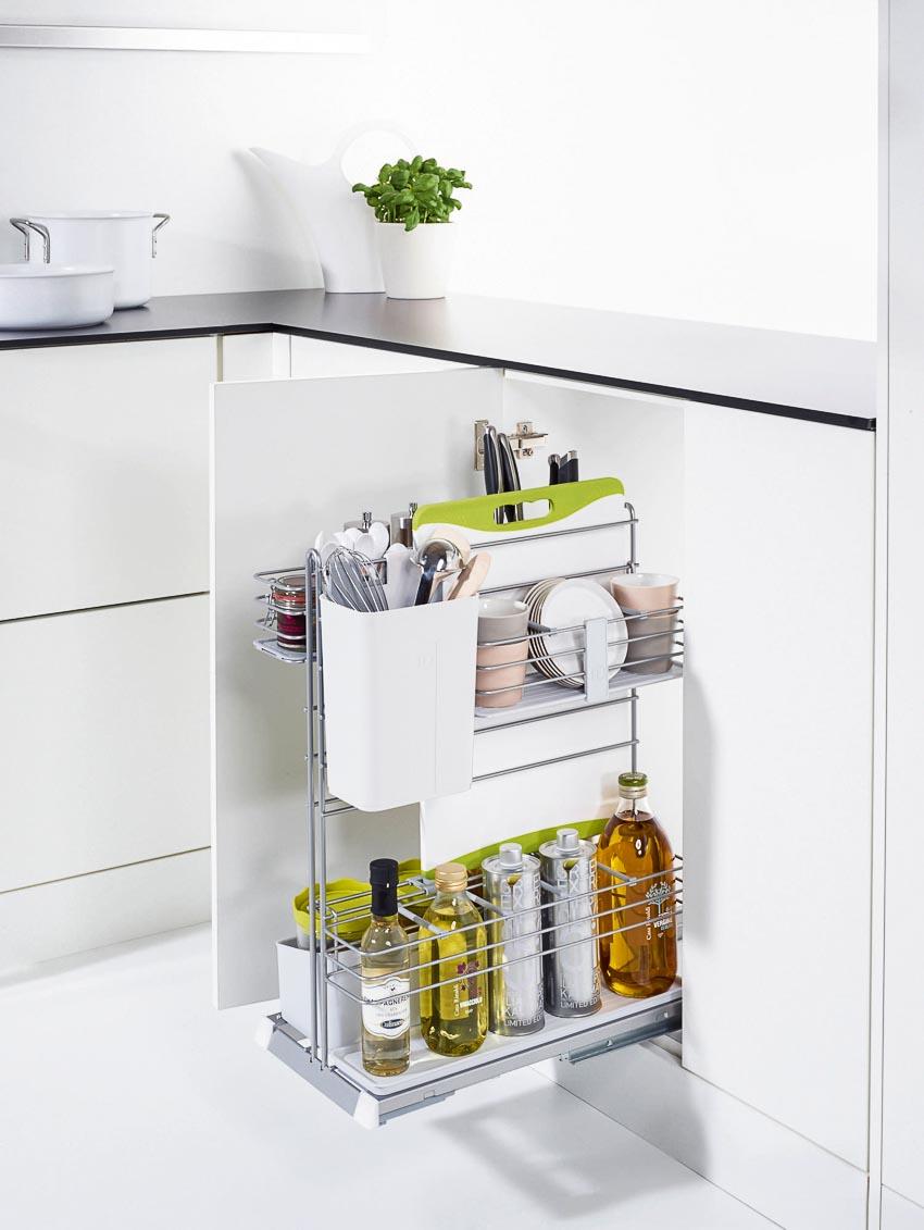 Phụ kiện góc tủ bếp và phụ kiện tủ bếp dưới tối ưu hóa từng góc bếp với cơ chế hoạt động nhẹ nhàng, êm ái 1