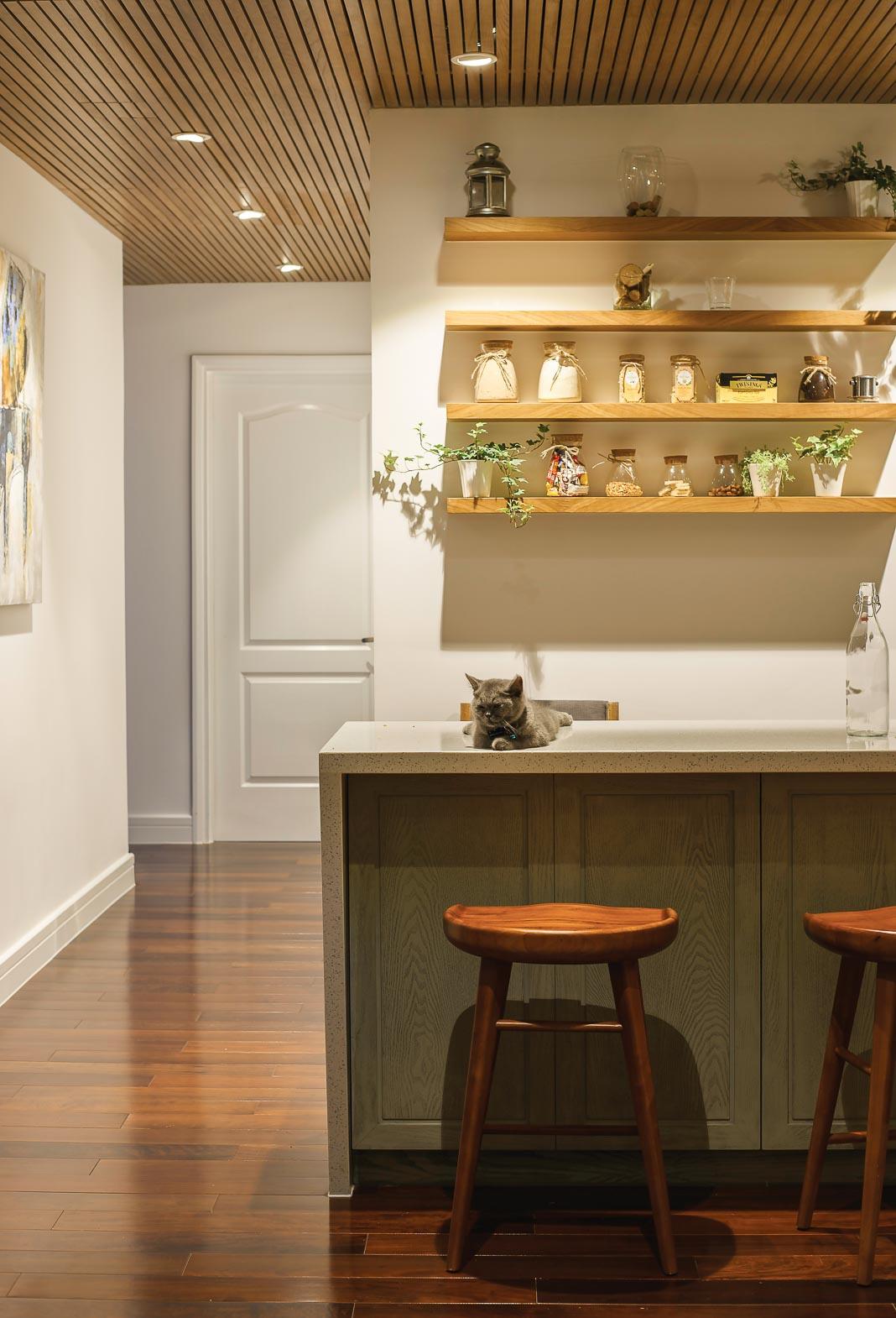 Bàn bếp và hệ thống kệ trang trí phía sau, rất đơn giản và hiệu quả