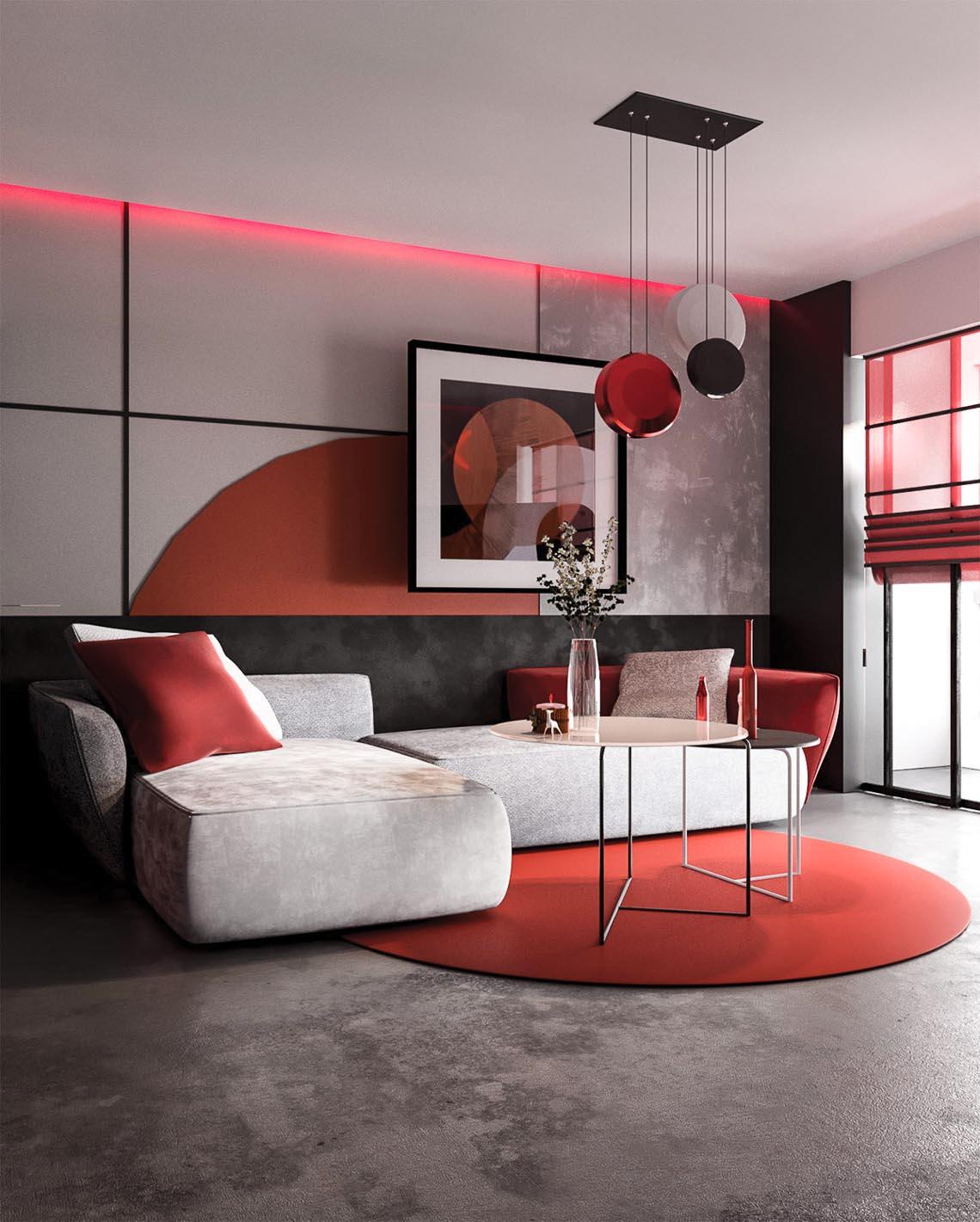 Thiết kế nội thất hiện đại với tông màu đỏ và xám theo phong cách Nhật Bản-1