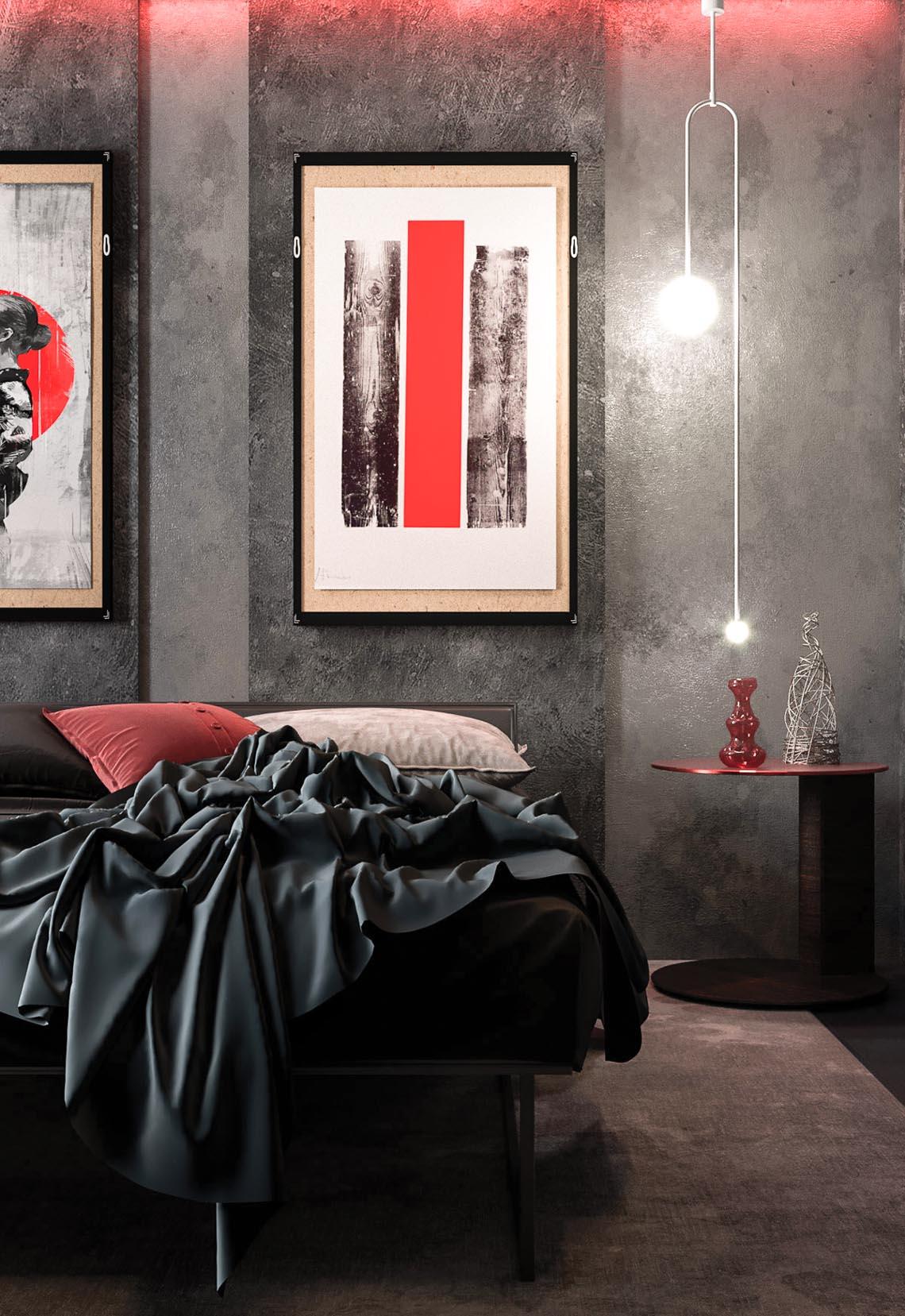 Thiết kế nội thất hiện đại với tông màu đỏ và xám theo phong cách Nhật Bản-10