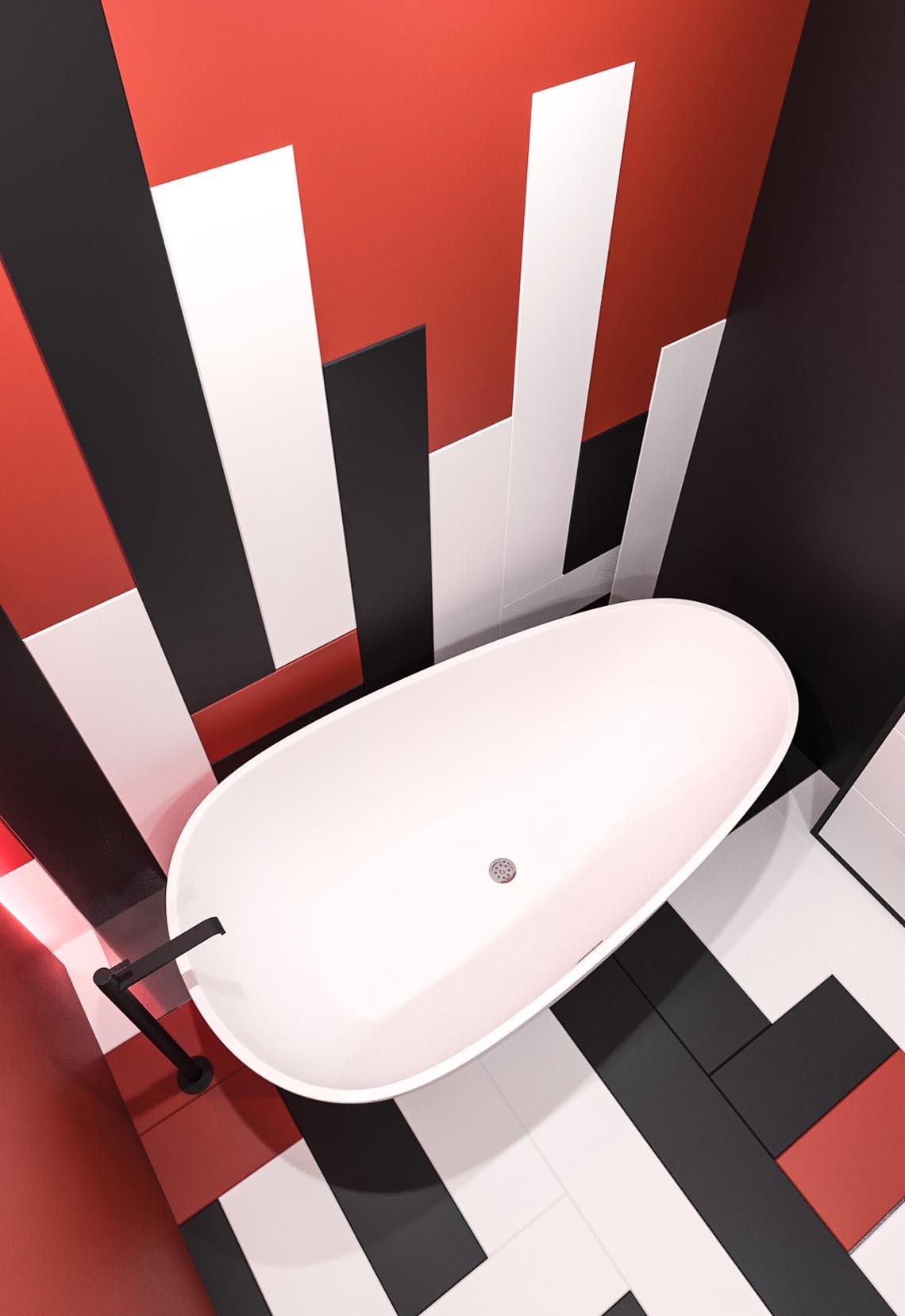 Thiết kế nội thất hiện đại với tông màu đỏ và xám theo phong cách Nhật Bản-12