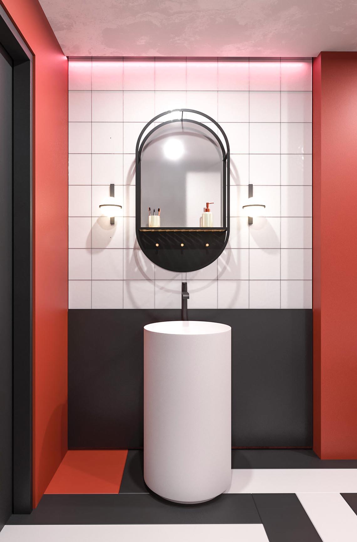 Thiết kế nội thất hiện đại với tông màu đỏ và xám theo phong cách Nhật Bản-13