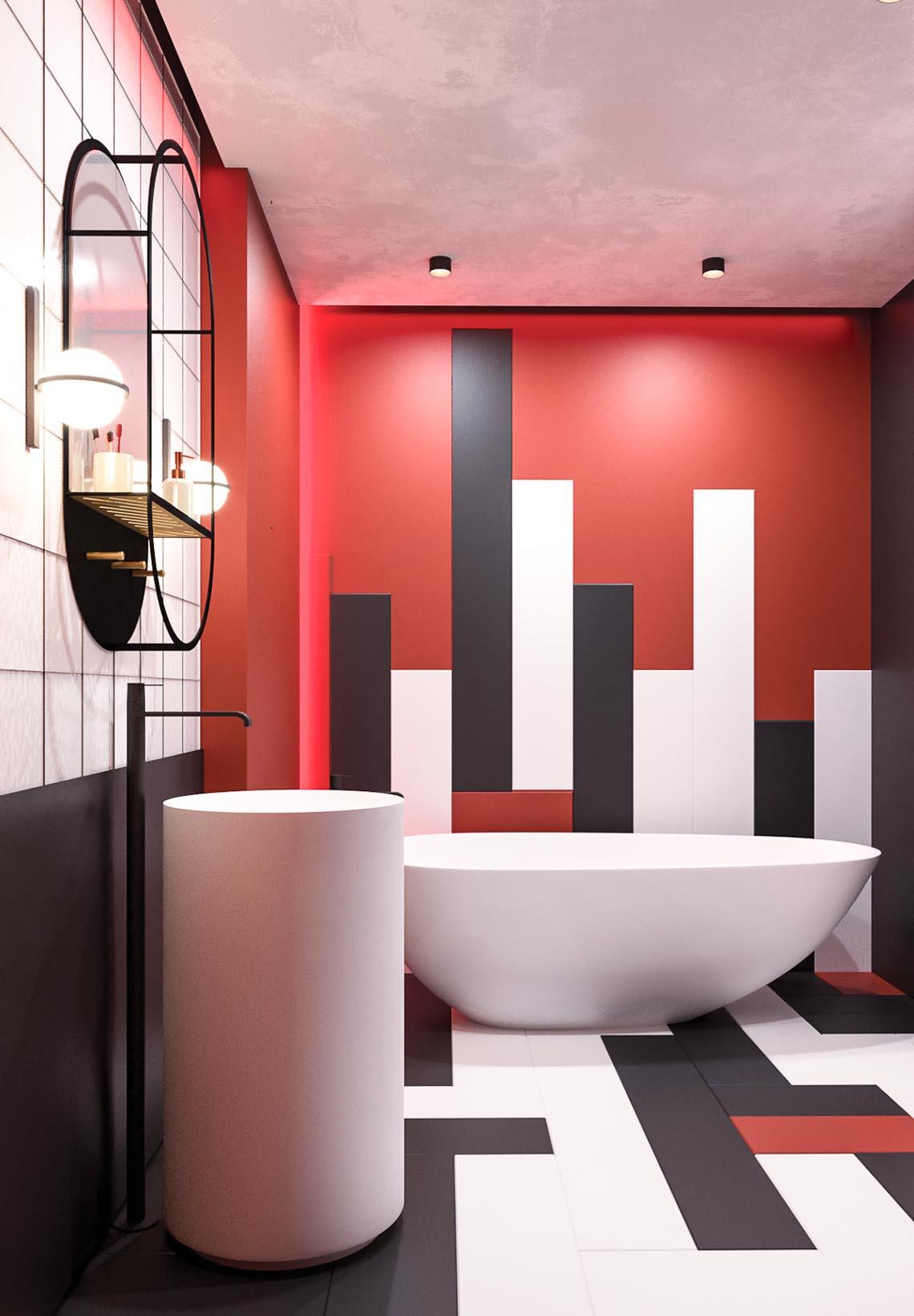 Thiết kế nội thất hiện đại với tông màu đỏ và xám theo phong cách Nhật Bản-14