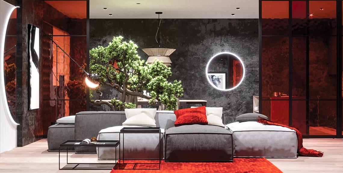 Thiết kế nội thất hiện đại với tông màu đỏ và xám theo phong cách Nhật Bản-15