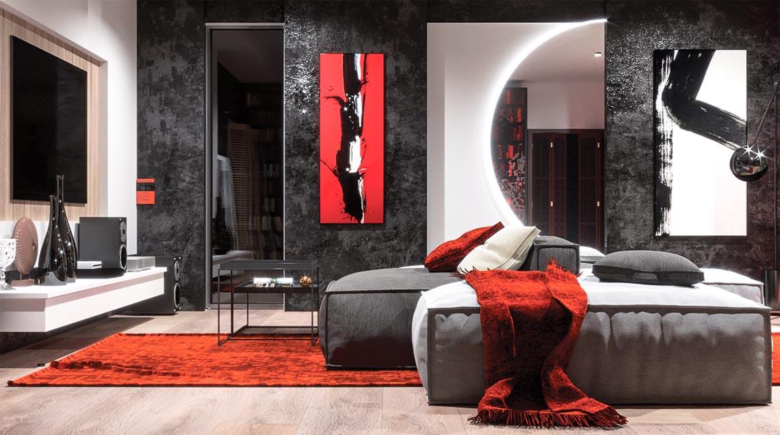 Thiết kế nội thất hiện đại với tông màu đỏ và xám theo phong cách Nhật Bản-16
