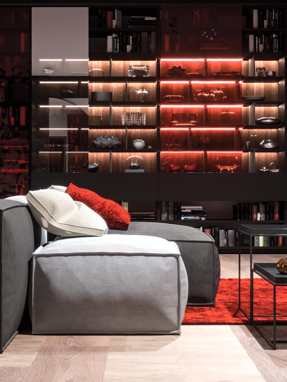 Thiết kế nội thất hiện đại với tông màu đỏ và xám theo phong cách Nhật Bản-17
