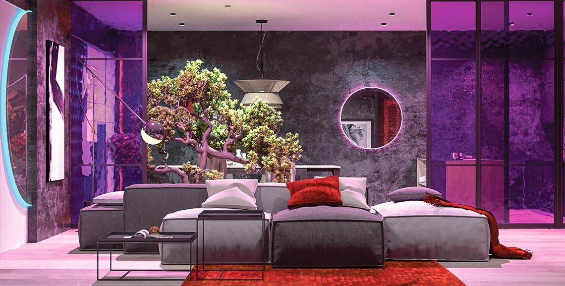 Thiết kế nội thất hiện đại với tông màu đỏ và xám theo phong cách Nhật Bản-18