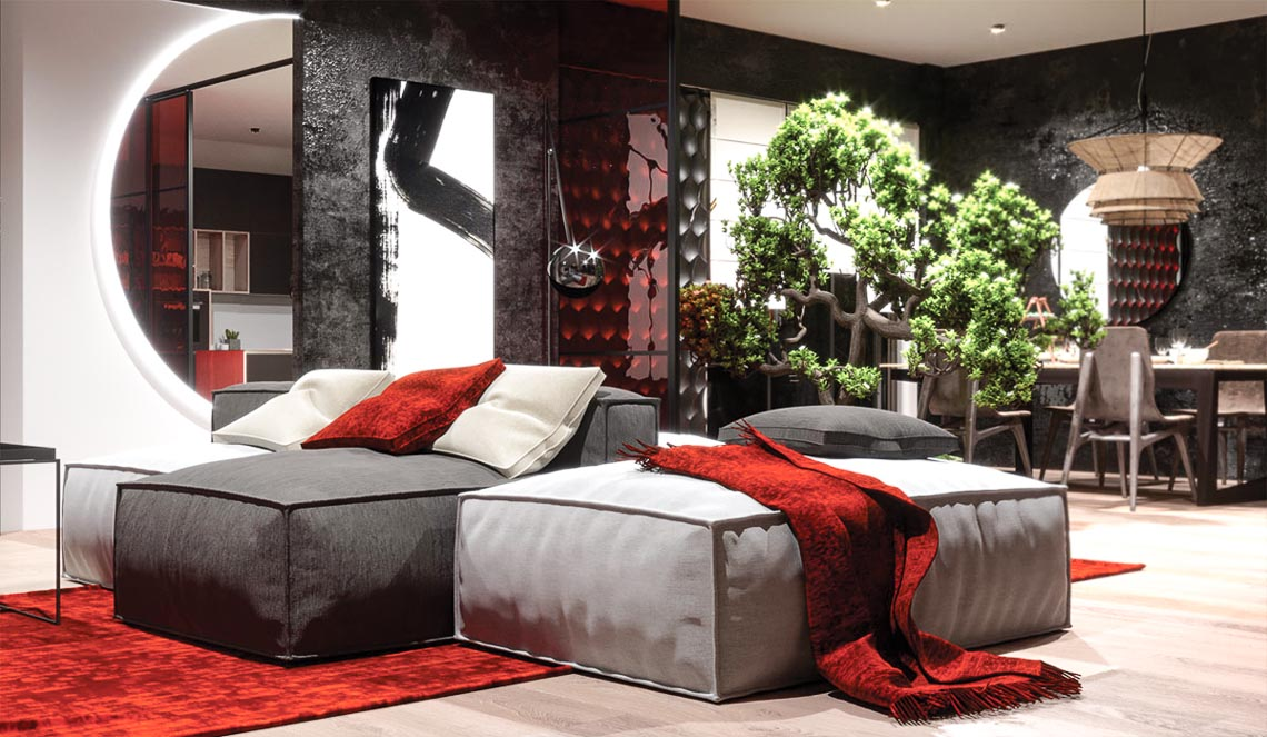 Thiết kế nội thất hiện đại với tông màu đỏ và xám theo phong cách Nhật Bản-19