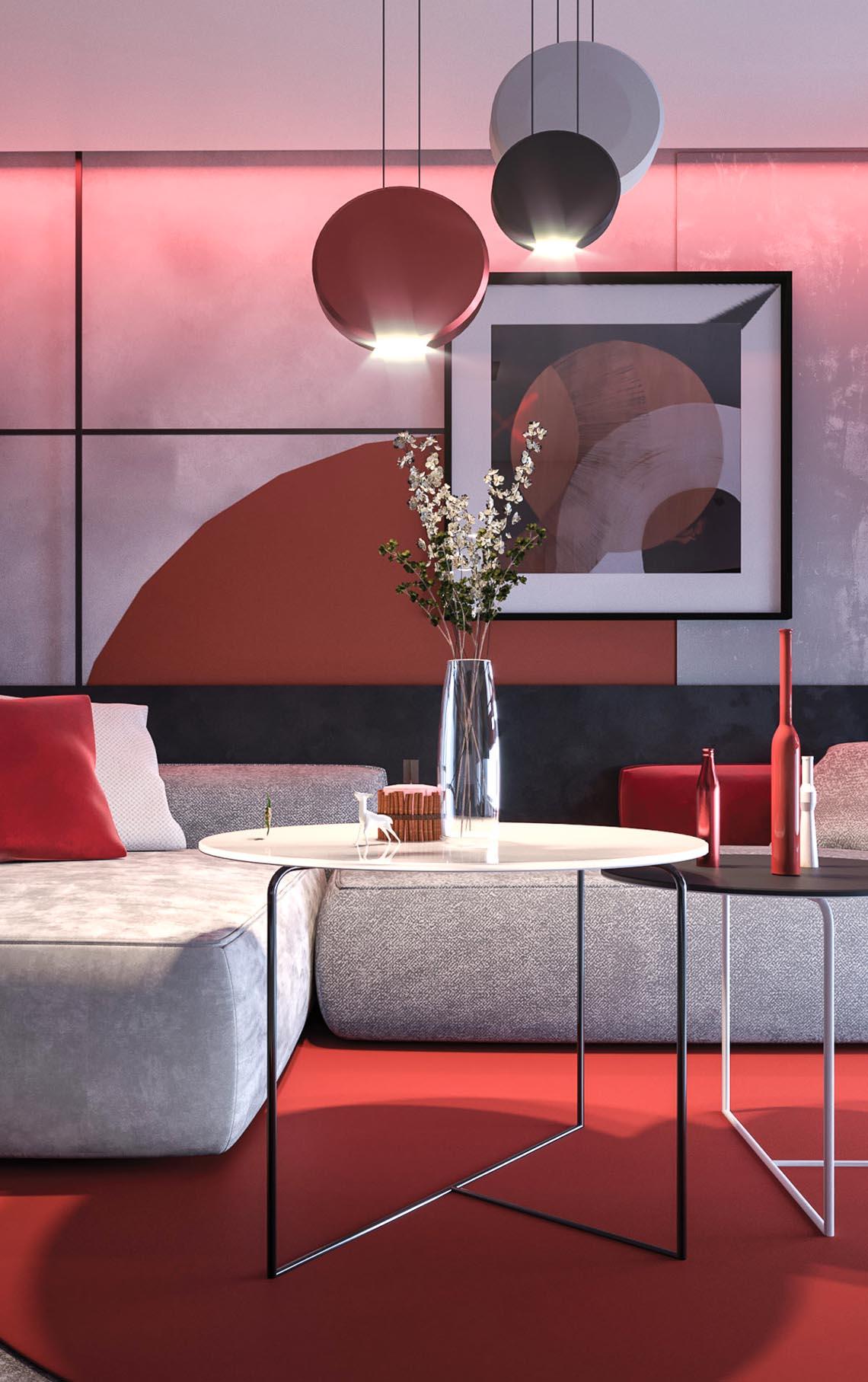 Thiết kế nội thất hiện đại với tông màu đỏ và xám theo phong cách Nhật Bản-2