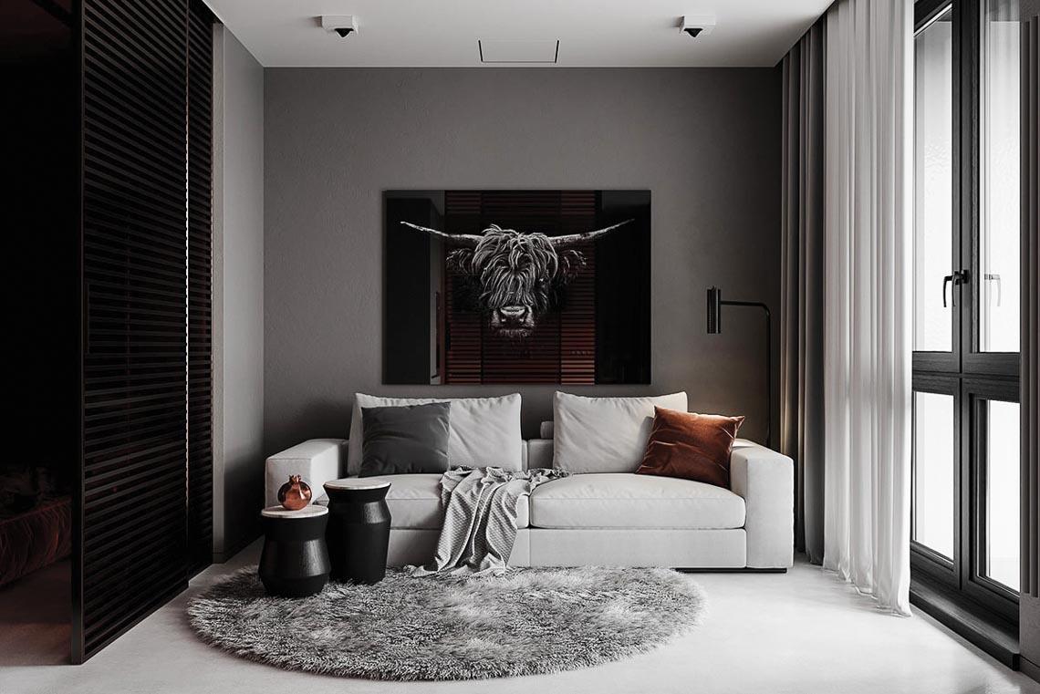 Thiết kế nội thất hiện đại với tông màu đỏ và xám theo phong cách Nhật Bản-24