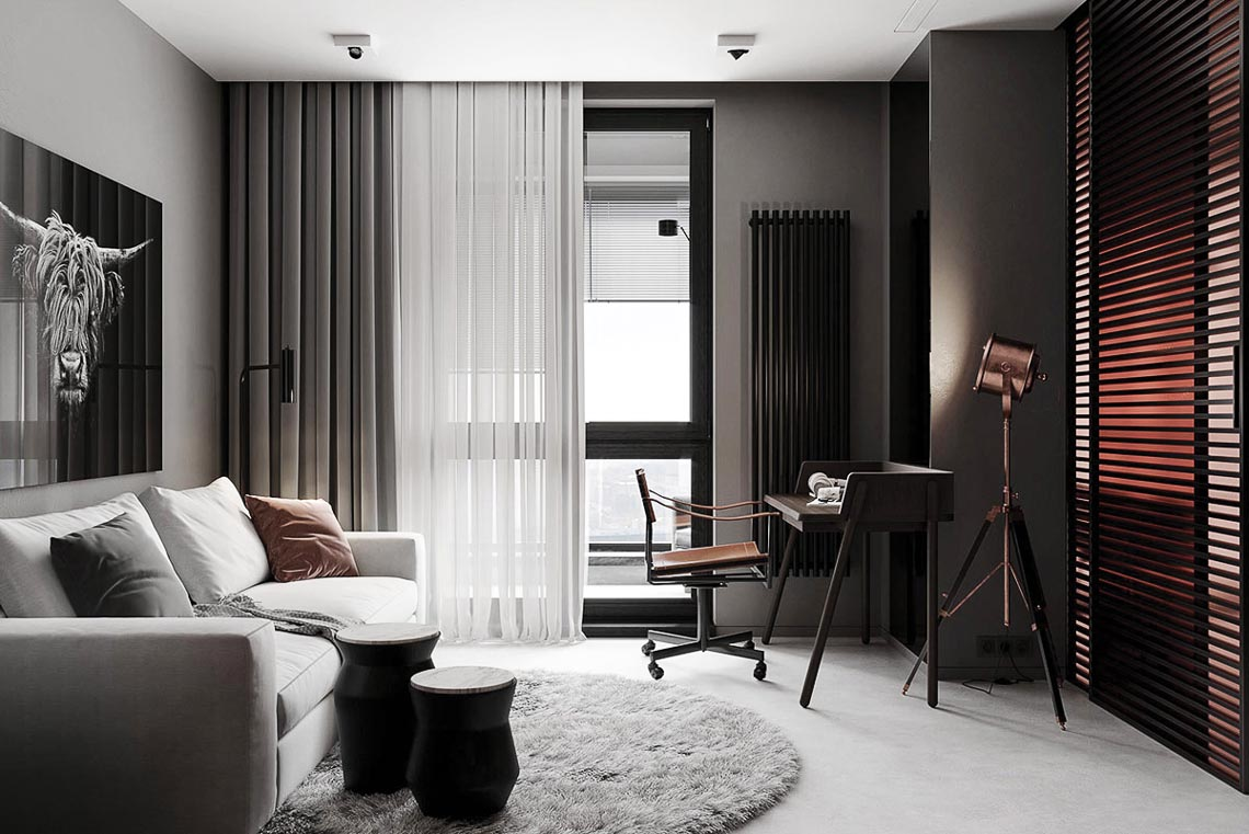 Thiết kế nội thất hiện đại với tông màu đỏ và xám theo phong cách Nhật Bản-25