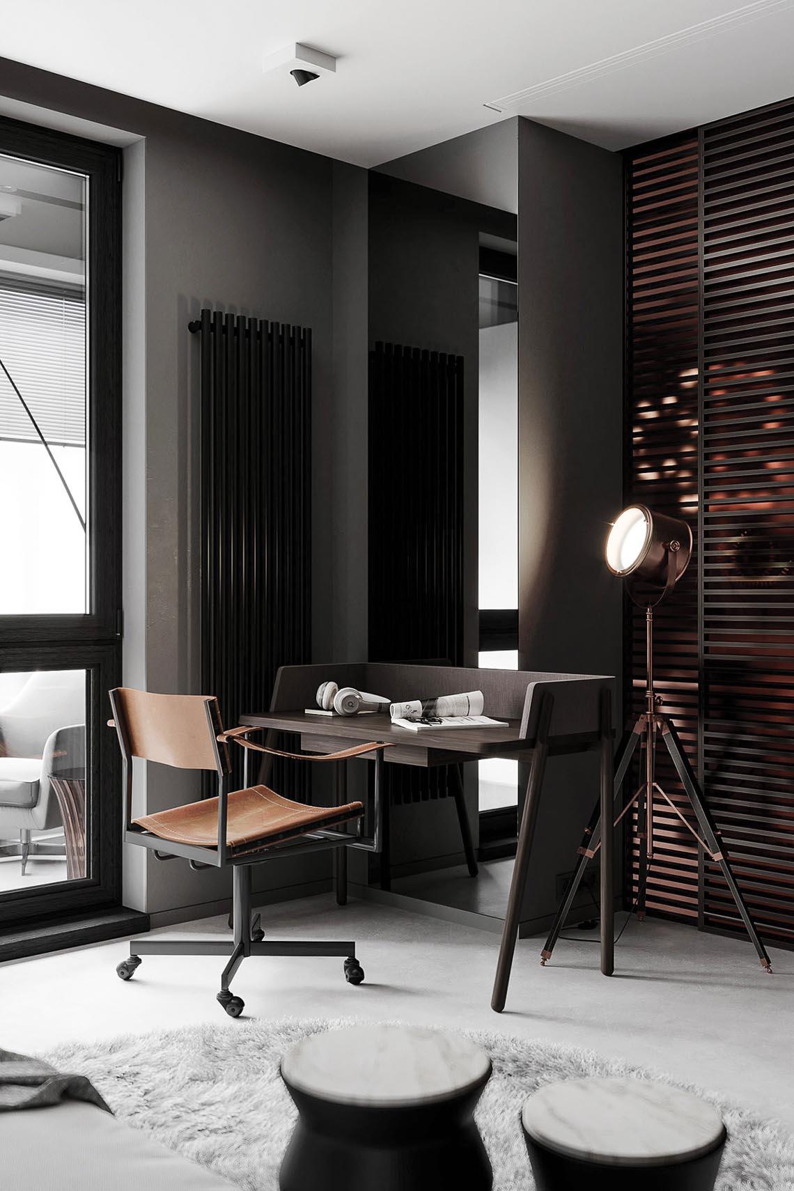 Thiết kế nội thất hiện đại với tông màu đỏ và xám theo phong cách Nhật Bản-26