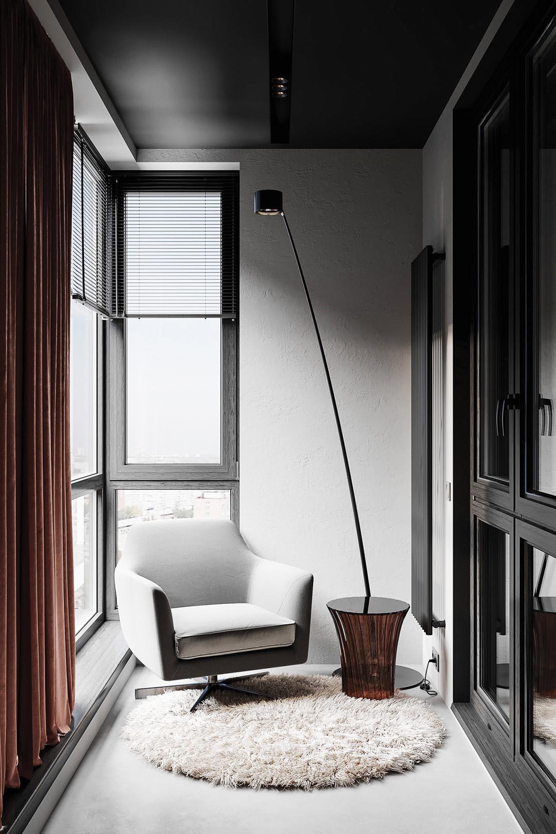 Thiết kế nội thất hiện đại với tông màu đỏ và xám theo phong cách Nhật Bản-27