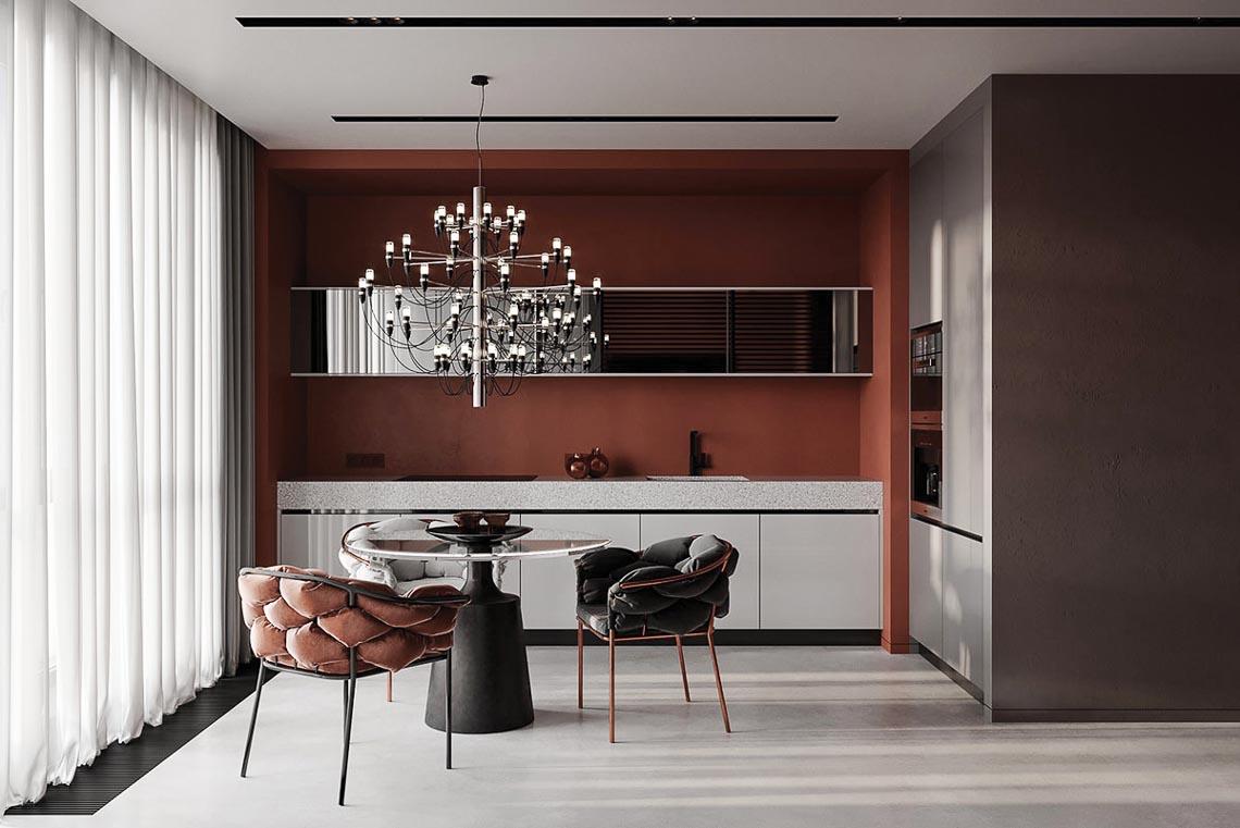 Thiết kế nội thất hiện đại với tông màu đỏ và xám theo phong cách Nhật Bản-28