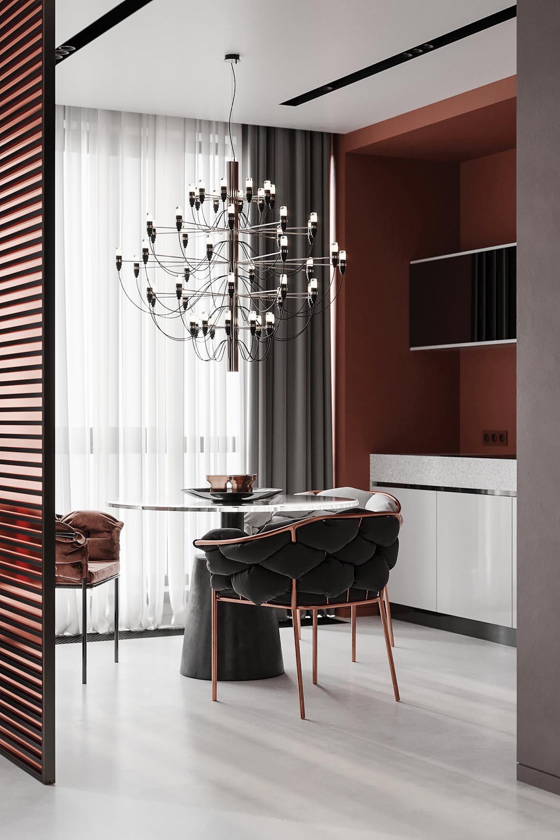 Thiết kế nội thất hiện đại với tông màu đỏ và xám theo phong cách Nhật Bản-29