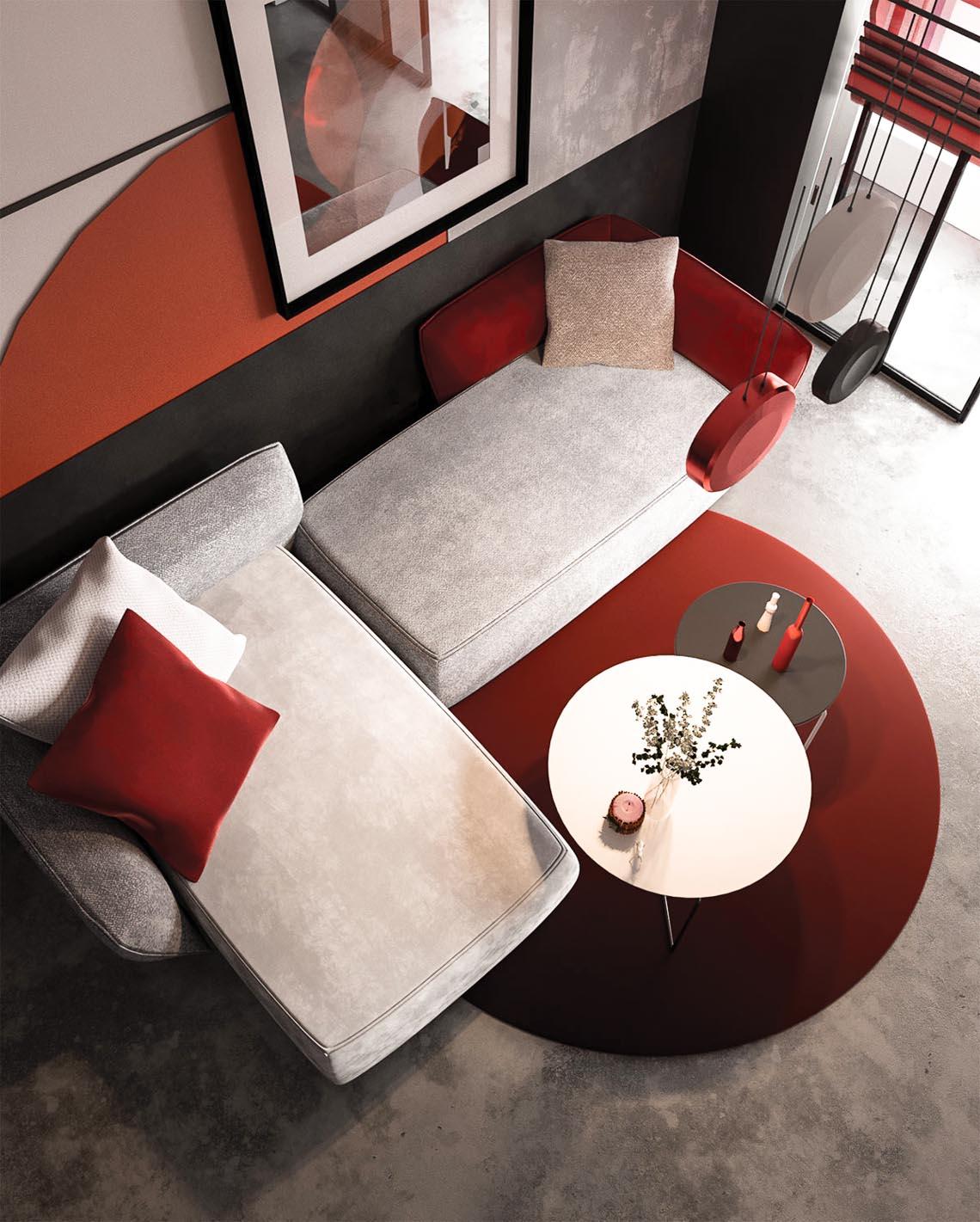 Thiết kế nội thất hiện đại với tông màu đỏ và xám theo phong cách Nhật Bản-3
