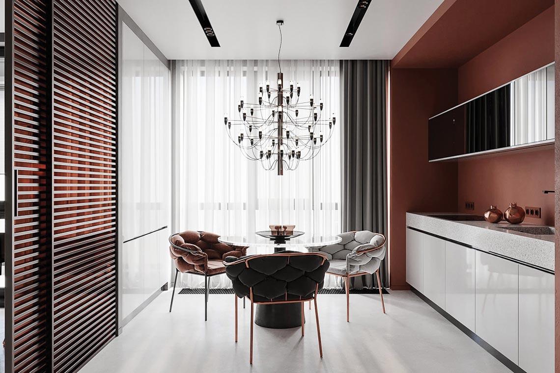 Thiết kế nội thất hiện đại với tông màu đỏ và xám theo phong cách Nhật Bản-30