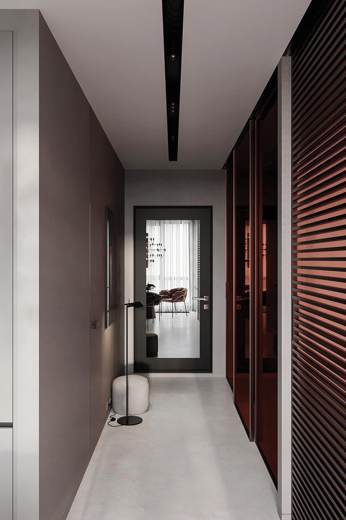 Thiết kế nội thất hiện đại với tông màu đỏ và xám theo phong cách Nhật Bản-31