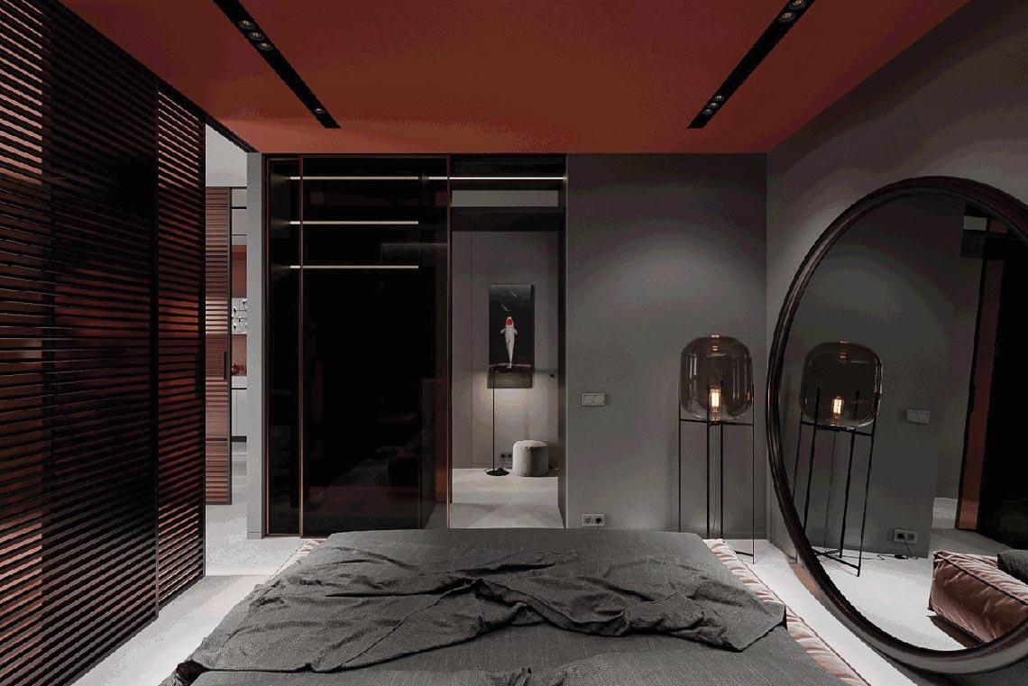 Thiết kế nội thất hiện đại với tông màu đỏ và xám theo phong cách Nhật Bản-33