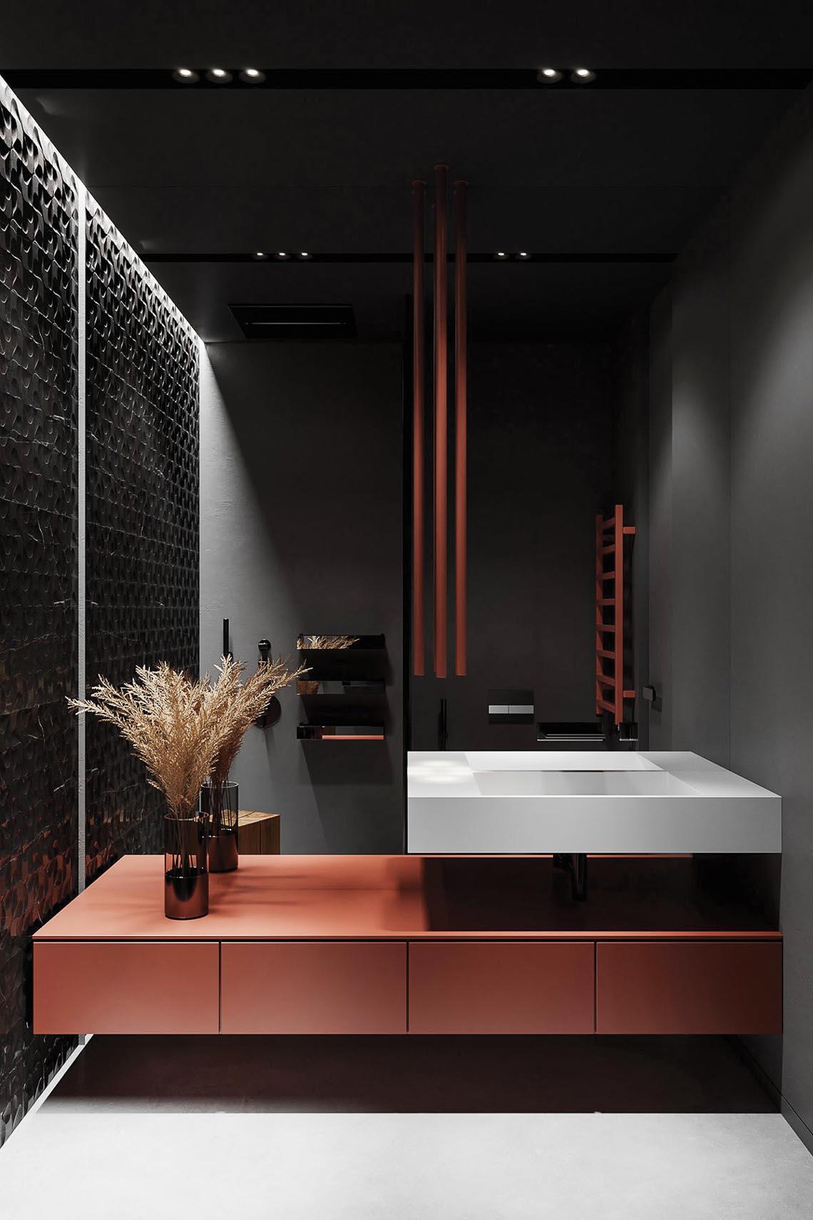 Thiết kế nội thất hiện đại với tông màu đỏ và xám theo phong cách Nhật Bản-36