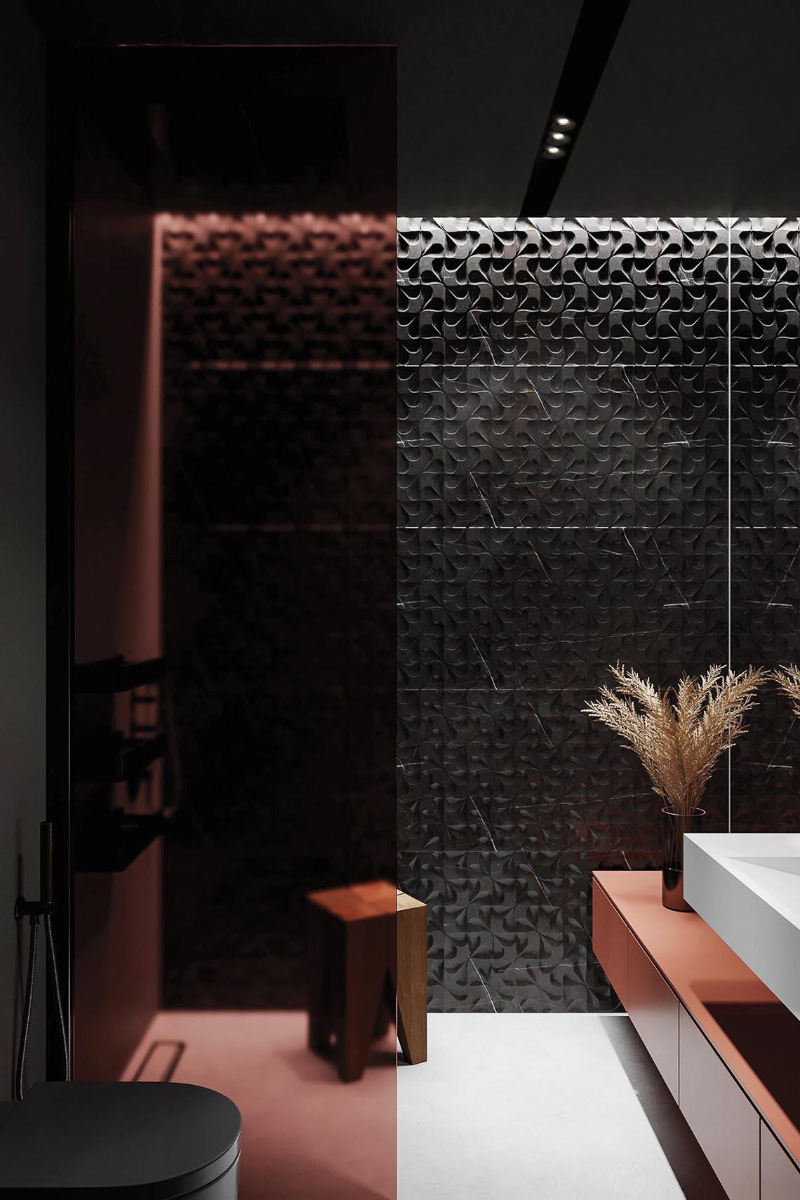 Thiết kế nội thất hiện đại với tông màu đỏ và xám theo phong cách Nhật Bản-38