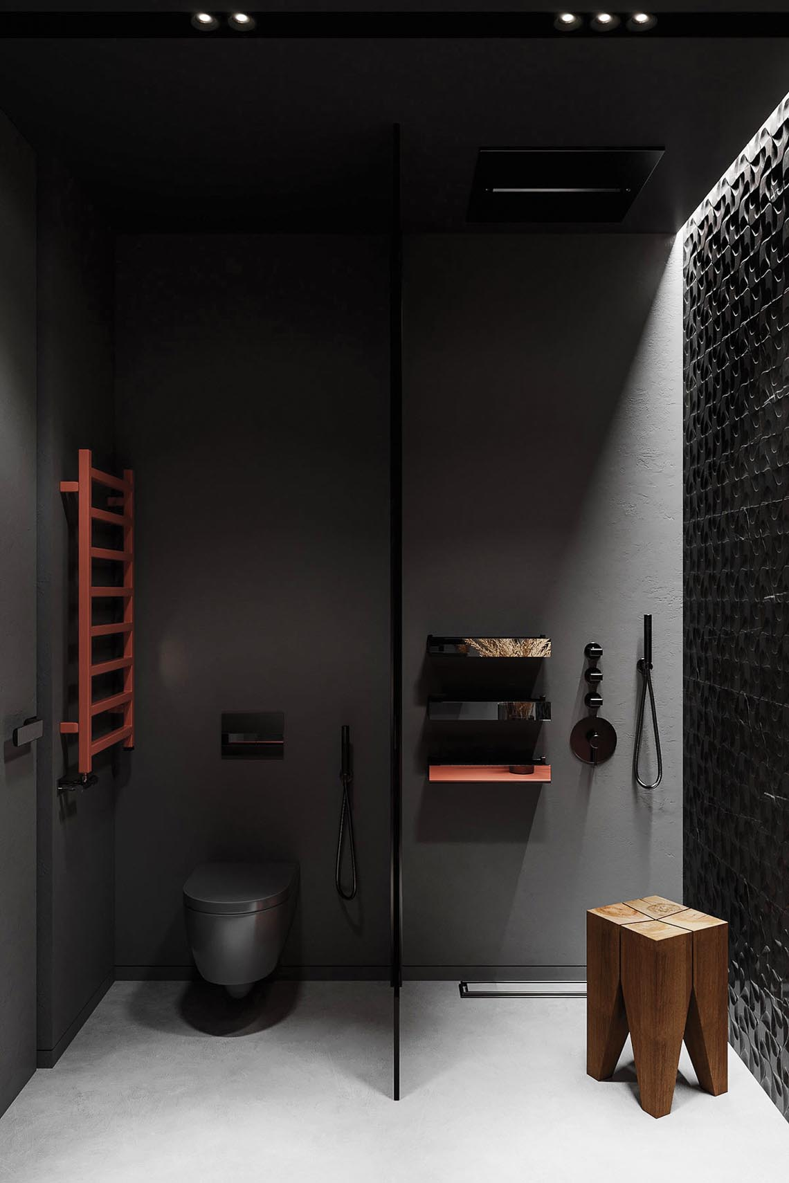 Thiết kế nội thất hiện đại với tông màu đỏ và xám theo phong cách Nhật Bản-39
