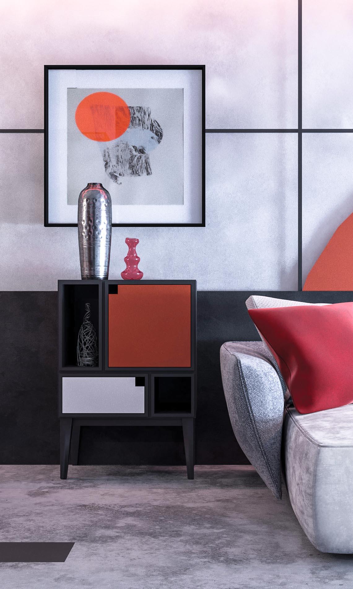 Thiết kế nội thất hiện đại với tông màu đỏ và xám theo phong cách Nhật Bản-4