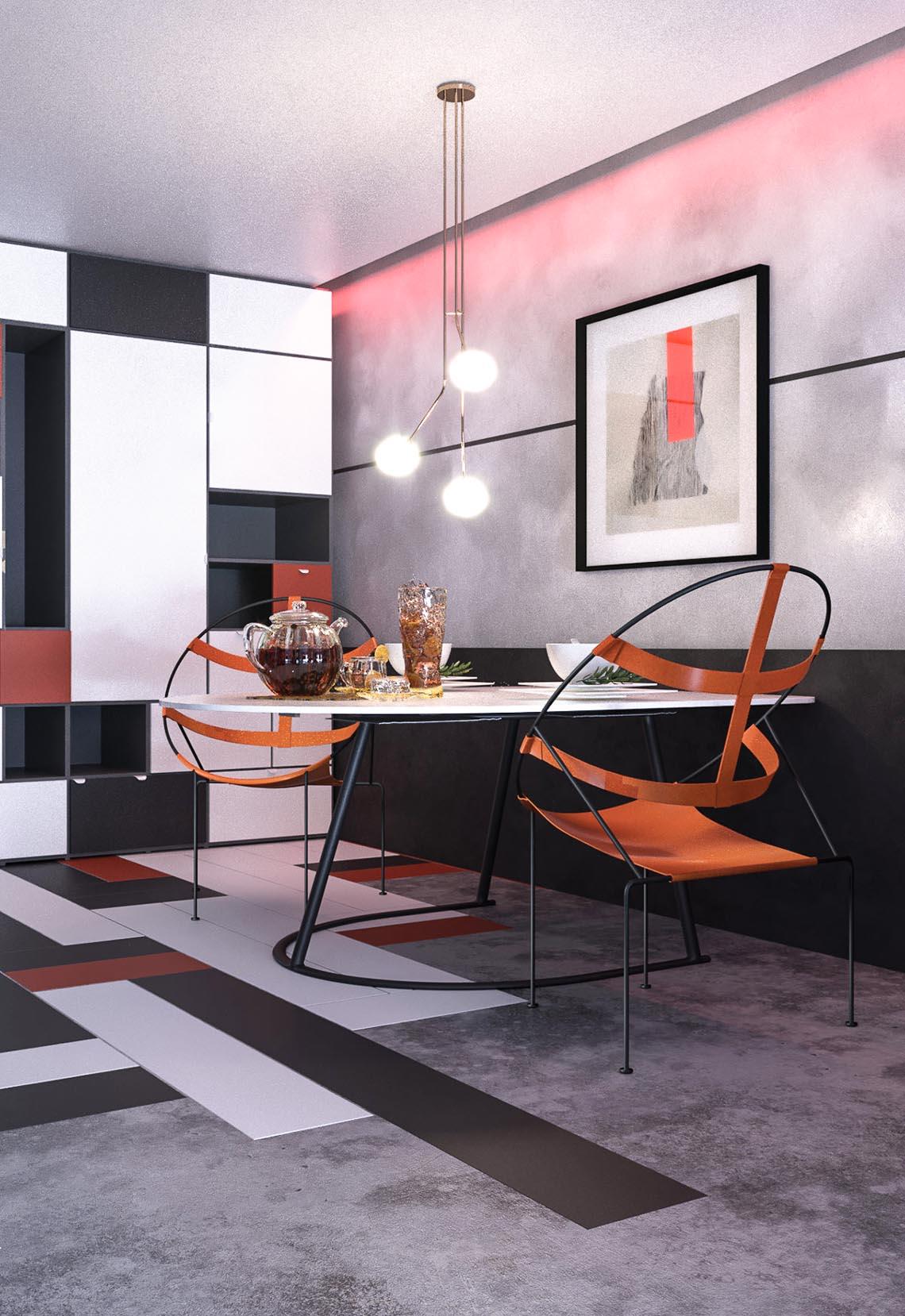 Thiết kế nội thất hiện đại với tông màu đỏ và xám theo phong cách Nhật Bản-5