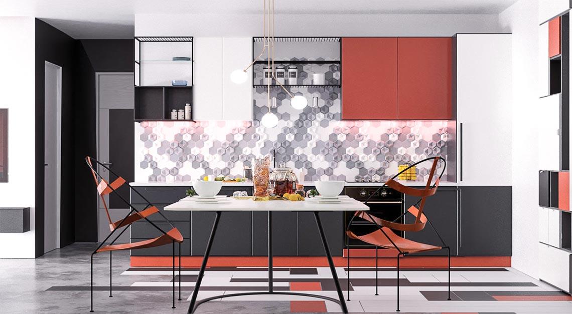 Thiết kế nội thất hiện đại với tông màu đỏ và xám theo phong cách Nhật Bản-7