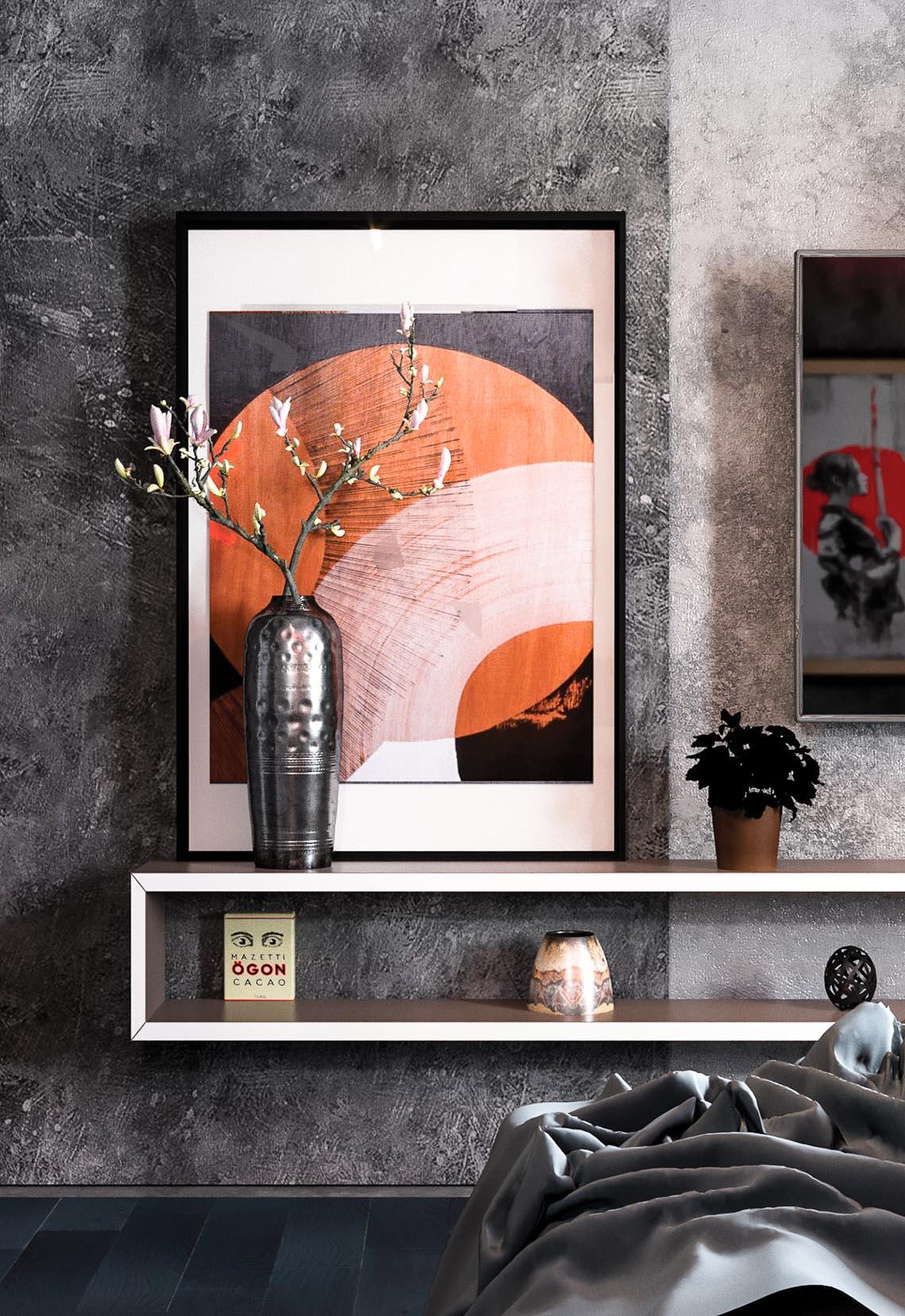 Thiết kế nội thất hiện đại với tông màu đỏ và xám theo phong cách Nhật Bản-8